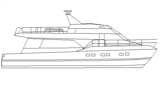 Mini ship type boat cad block design dwg file