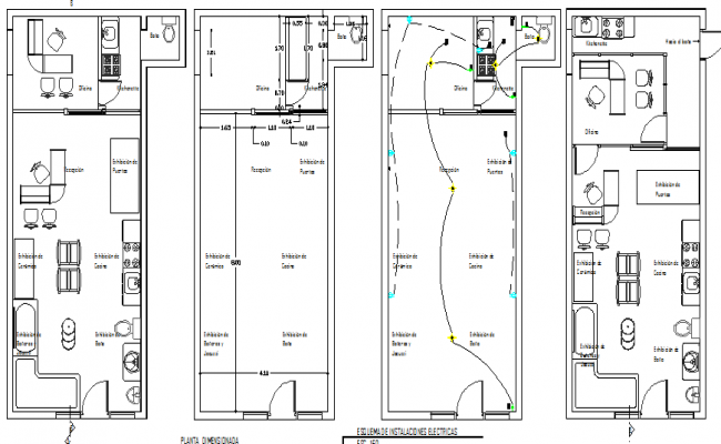 Mini shop finishing and material and structure plan detail dwg file