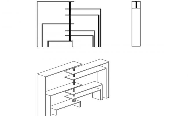 Minimalist shelving 3d details