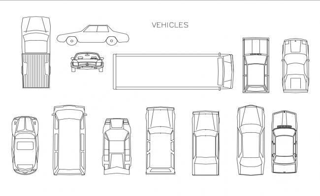 Miscellaneous car and multiple vehicle blocks cad drawing details dwg file