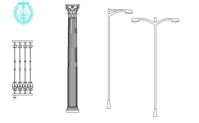 Miscellaneous column, light-poles and interior blocks details dwg file