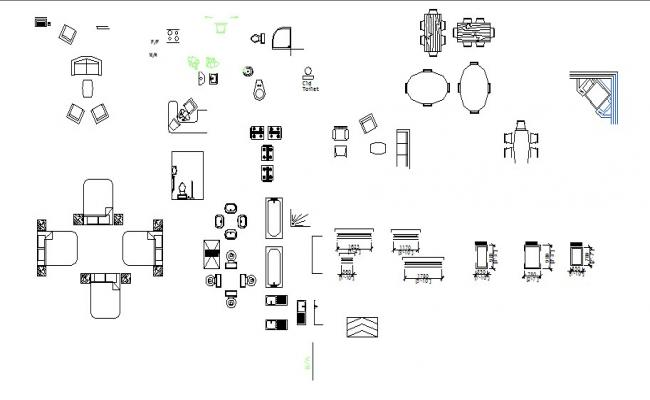Miscellaneous furniture and sanitary blocks cad drawing details dwg file