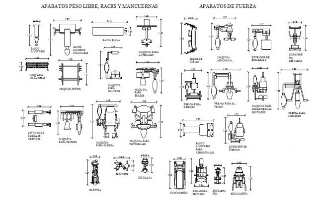 Miscellaneous gym equipment blocks cad drawing details dwg file