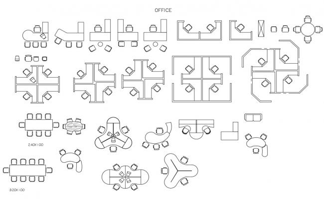 Miscellaneous Office Furniture Elevation Blocks Cad Drawing Details