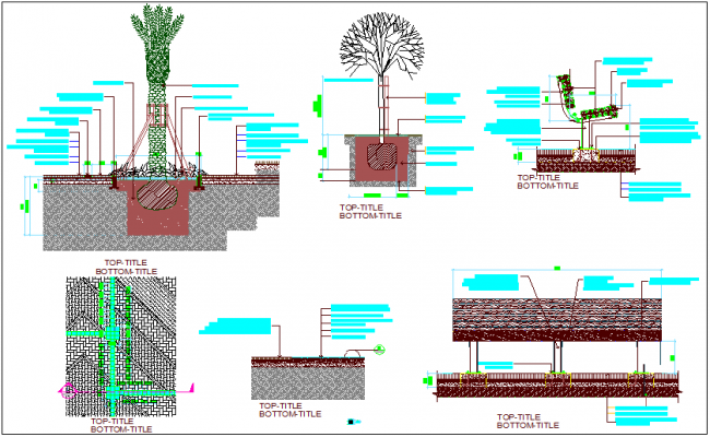 Miselinious plantation view with mixed soil dwg file