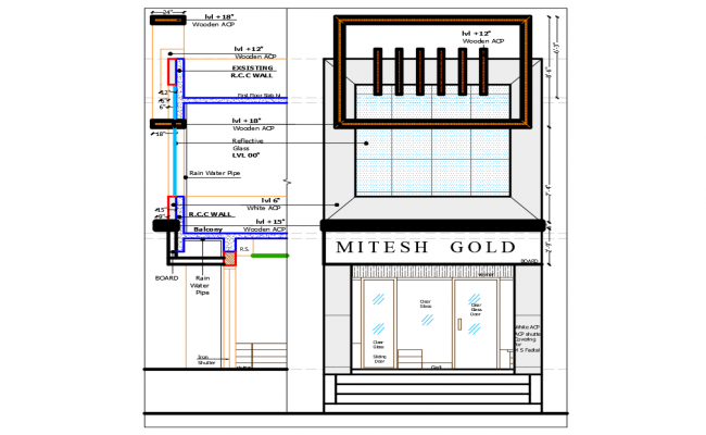 Mitesh Jewelry Shop Exterior Elevation And Interior