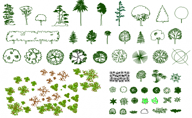 Mix tree and plant blocks design details dwg file