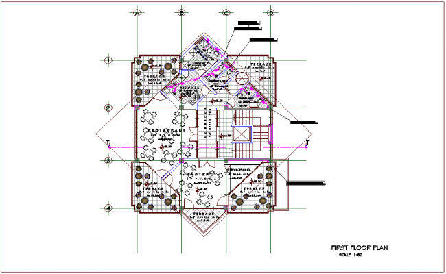 Mixed use building first floor plan with architectural view dwg file