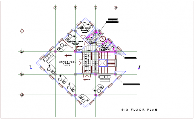 Mixed use building of sixth floor plan dwg file