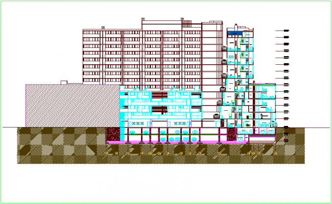 Mixed used high rise building section view with floor level dwg file