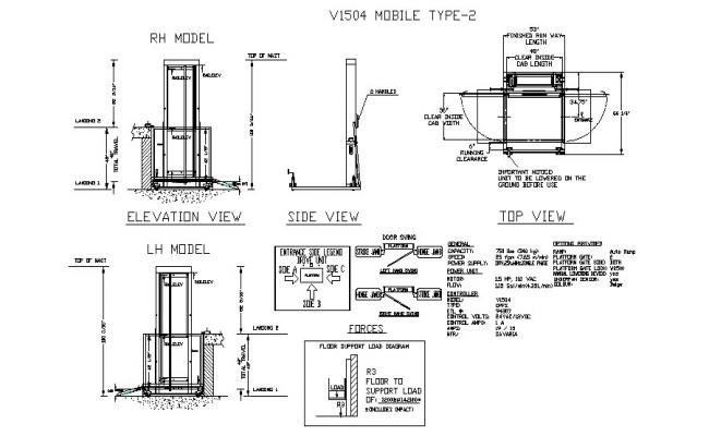 Mobile booth elevation, section, plan and landscaping structure details dwg file