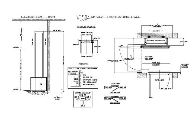 Mobile cabin elevation, distribution plan and auto-cad details dwg file