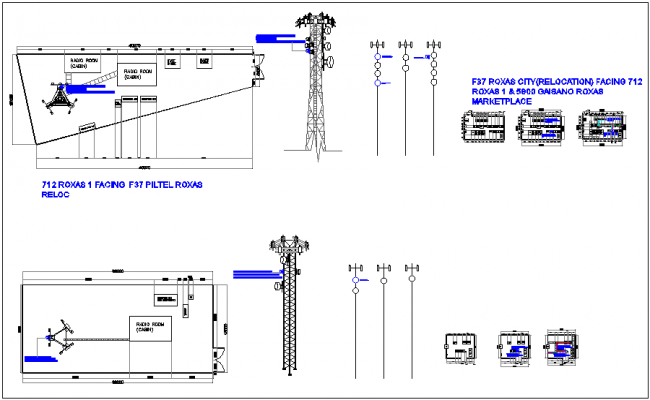 Mobile tower plan and elevation with its installation and electrical control system dwg file