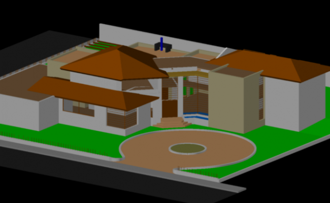 Model house 3d view dwg file