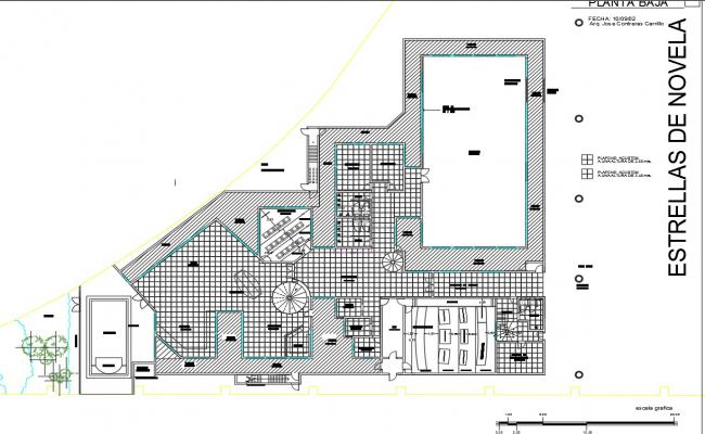 Modeling school architecture layout plan details with garden dwg file
