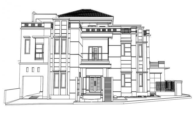 Modern 3D View Of Bungalow Design Elevation AutoCAD File