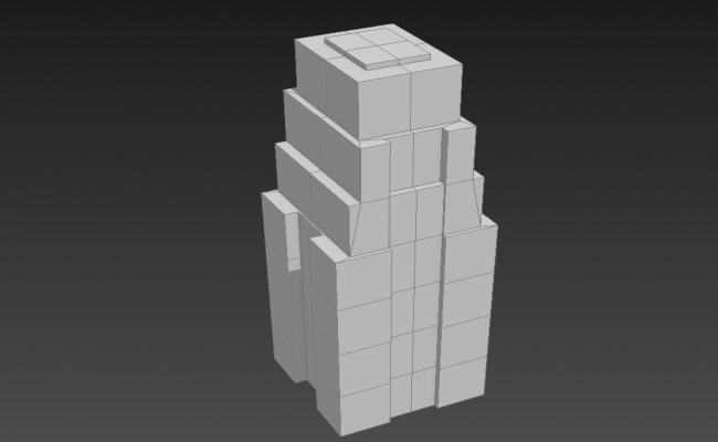 Modern Block Elevation Of Commercial Building 3D MAX File Free
