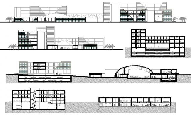 Modern Building elevation design dwg file