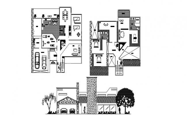 Modern Bungalow Design Plan In DWG File