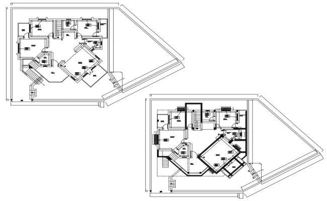Modern Bungalow Floor Plan In DWG File