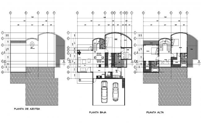 Modern Bungalow Floors Plan With Furniture Layout AutoCAD File