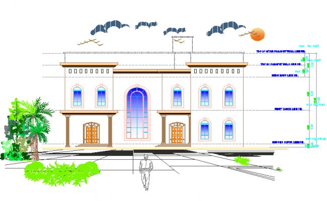 Modern Bungalow elevation design.