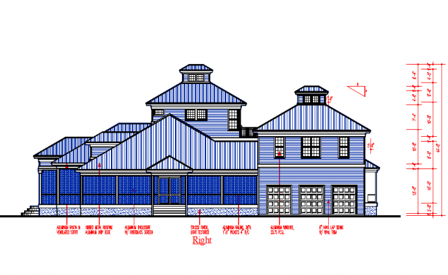 Modern Bungalows Roof Elevation detail