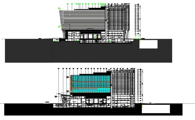 Modern Commercial Building Elevation And Section Designs AutoCAD File