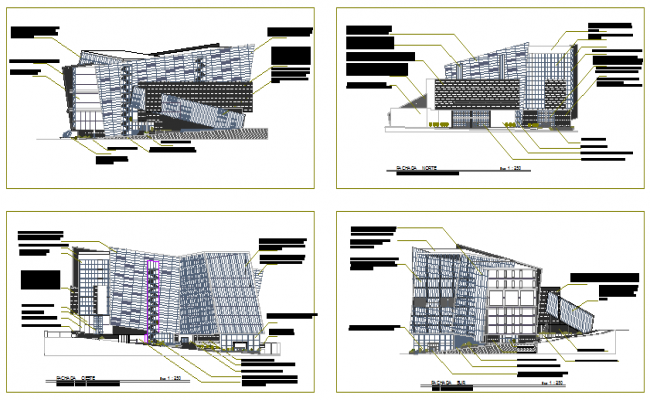 Modern Elevation design of commercial center design drawing