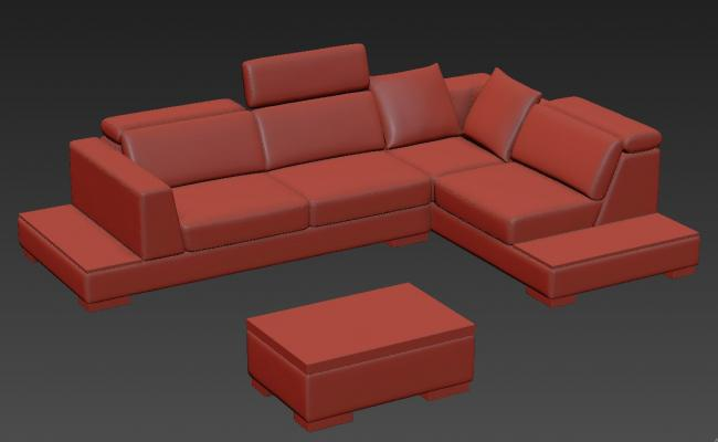 Modern L Shape Sofa Cum Bed With Center Table 3D Model Free Download
