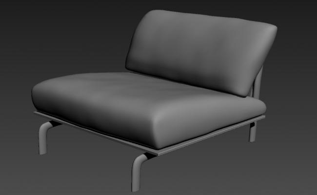 Modern One Seater Sofa In 3D MAX File Free