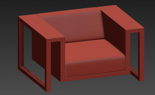 Modern One Seater Sofa Render In 3D MAX file Free Download
