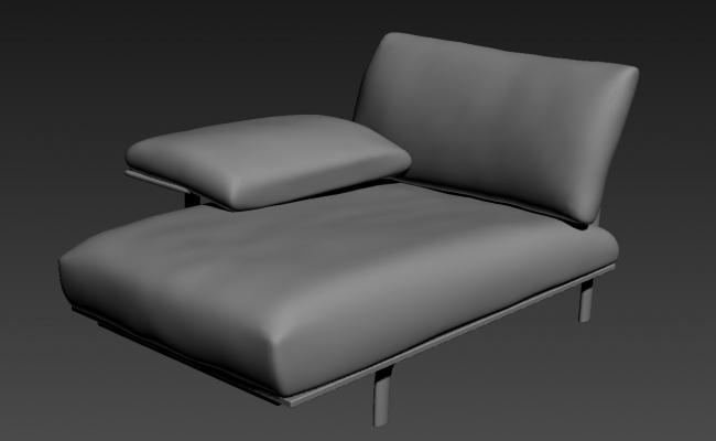 Modern One Seater Sofa With Arm Rest  In 3D MAX File Free