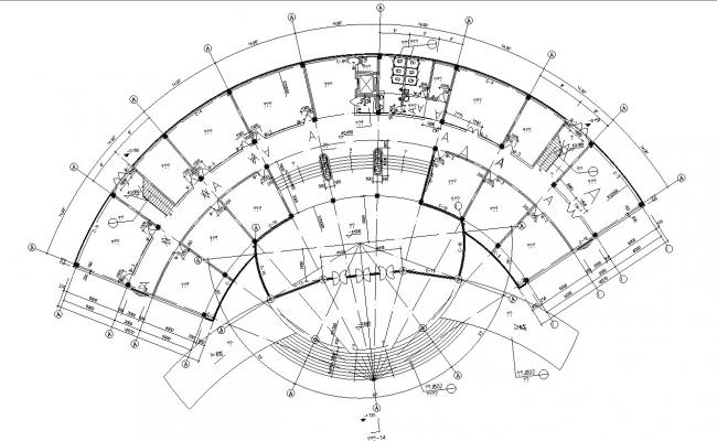 Modern Plan Of Commercial Building DWG Format