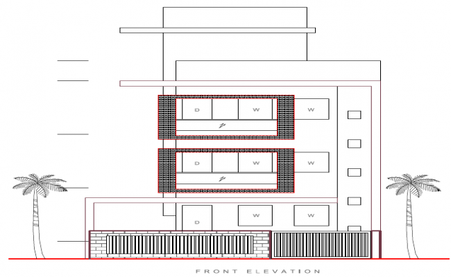 Front Elevation Autocad 2d : Modern residential building d elevation