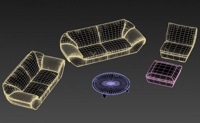 Modern Sofa Set Design With Round Shape Center Table And Puffy 3D MAX File