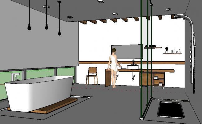 Modern bathroom 3d model and interior details skp file