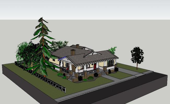 Modern beautiful villa type bungalow 3d model cad drawing details skp file