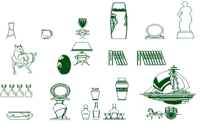 Modern decorative elements of garden common blocks dwg file