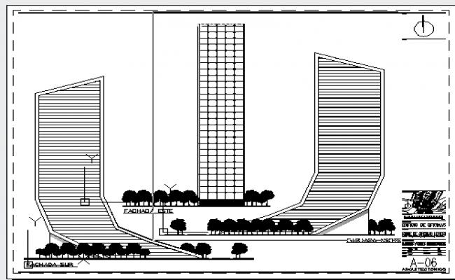 Modern design elevation of Office building design drawing