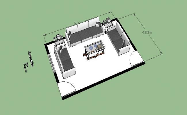 Modern drawing room furniture blocks 3d cad drawing details skp file