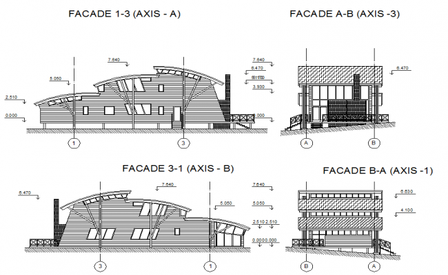 Modern elevation design of a luxurious building dwg file