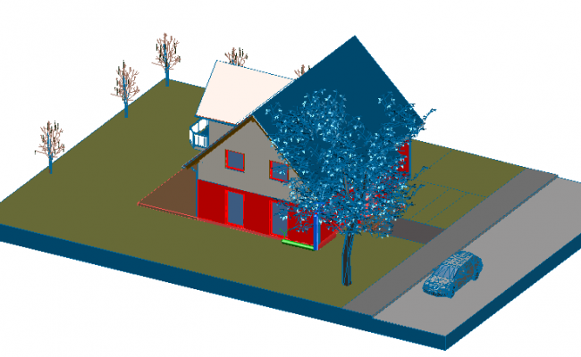 Modern house 3D view design dwg file