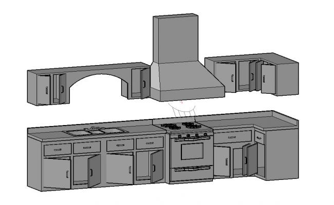 Modern kitchen 3d model cad drawing details dwg file