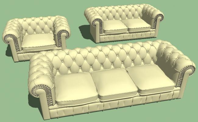 Modern maharaja sofa set 3d block cad drawing details skp file