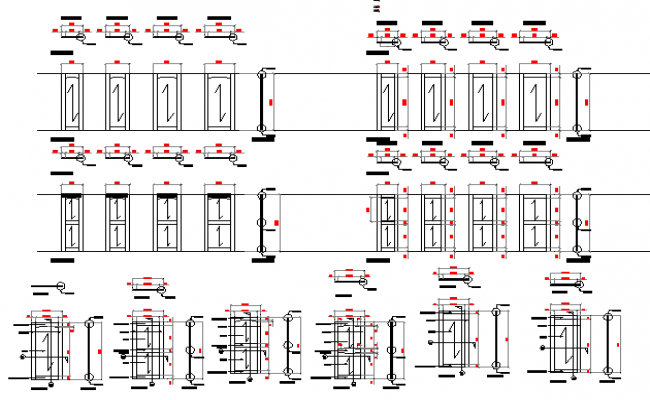 Modern multiple door designs of building dwg file