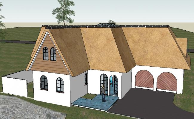 Modern residential 3d bungalow model cad drawing details skp file