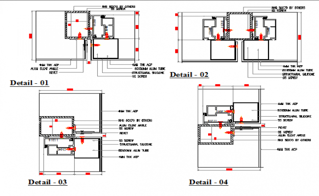 Modern single door installation details of office dwg file