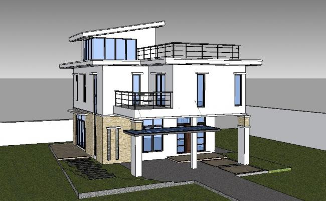 Modern two-story house 3d model cad drawing details skp file