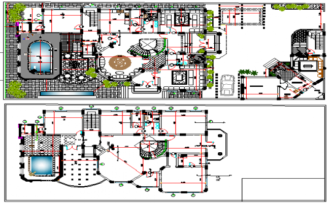 Modern villa landscaping and layout plan details dwg file for Villa plan dwg